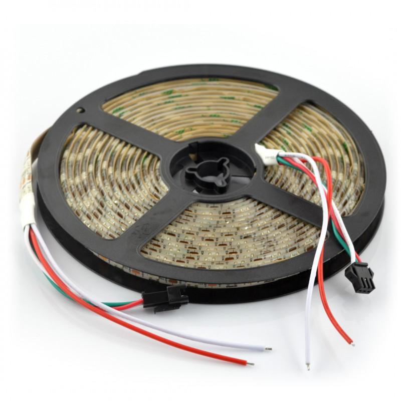 Pasek LED RGB WS2812B - cyfrowy, adresowany - IP65 30 LED/m, 9W/m, 5V - 5m