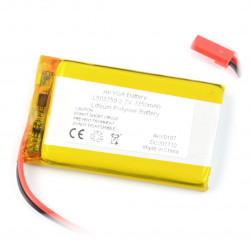 Akumulator Li-Pol Akyga 1350mAh 1S 3.7V - złącze JST-BEC + gniazdo