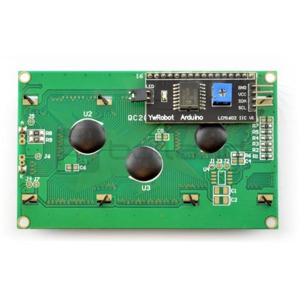 Wyświetlacz LCD 4x20 znaków niebieski + konwerter I2C LCM1602