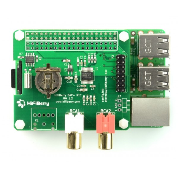 HiFiBerry DAC+ RTC - sound card for Raspberry Pi 4B/3B+/3/2/B+/A+/Zero*