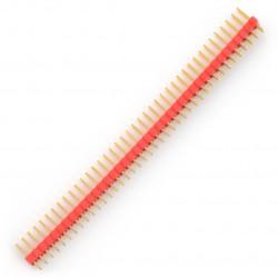 Wtyk goldpin 2x40 prosty raster 2,54mm - czerwony
