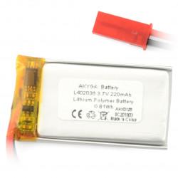 Akumulator Li-Pol Akyga 220mAh 1S 3.7V - złącze JST-BEC + gniazdo