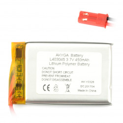 Akumulator Li-Pol Akyga 450mAh 1S 3.7V - złącze JST-BEC + gniazdo
