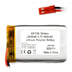 Akumulator Li-Pol Akyga 850mAh 1S 3.7V - złącze JST-BEC + gniazdo