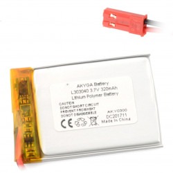 Akumulator Li-Pol Akyga 320mAh 1S 3.7V - złącze JST-BEC + gniazdo