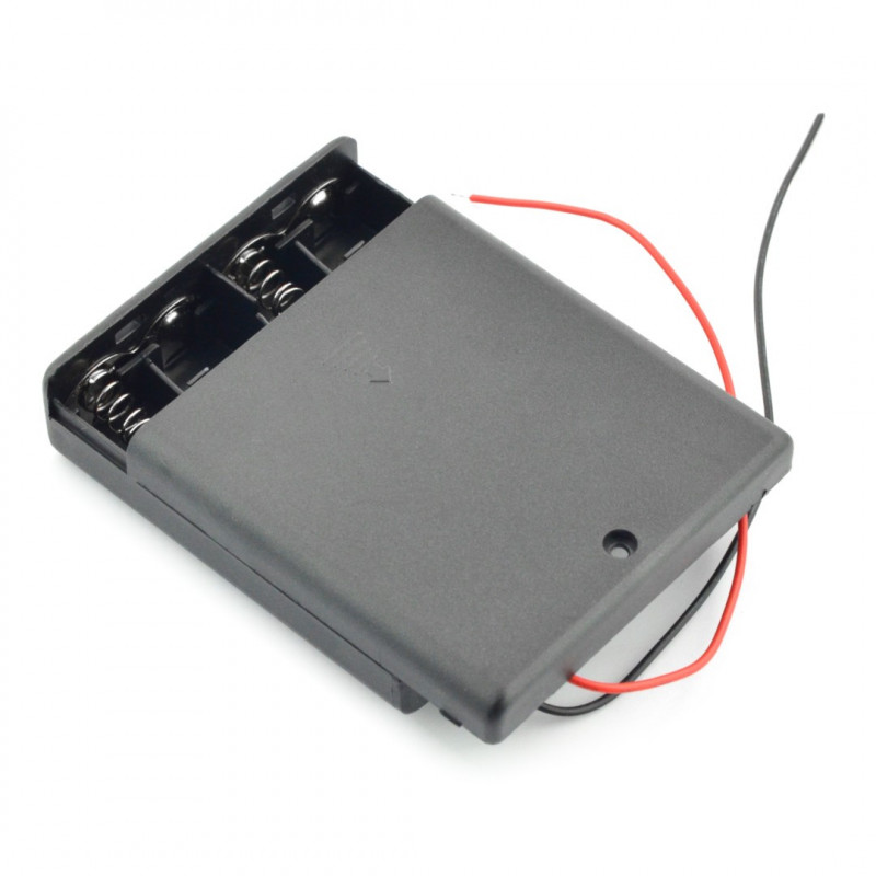 Battery holder for 4 AA (R6) batteries with cover and switch
