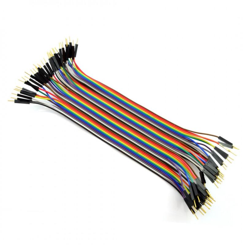 Zestaw przewodów połączeniowych - męsko-męskie 20cm 40szt.