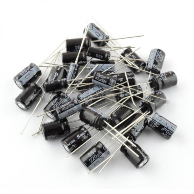 Zestaw kondensatorów elektrolitycznych THT HV opisany - 107szt.