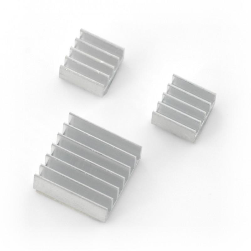 Zestaw radiatorów do Raspberry Pi z taśma termoprzewodzącą - 3szt.