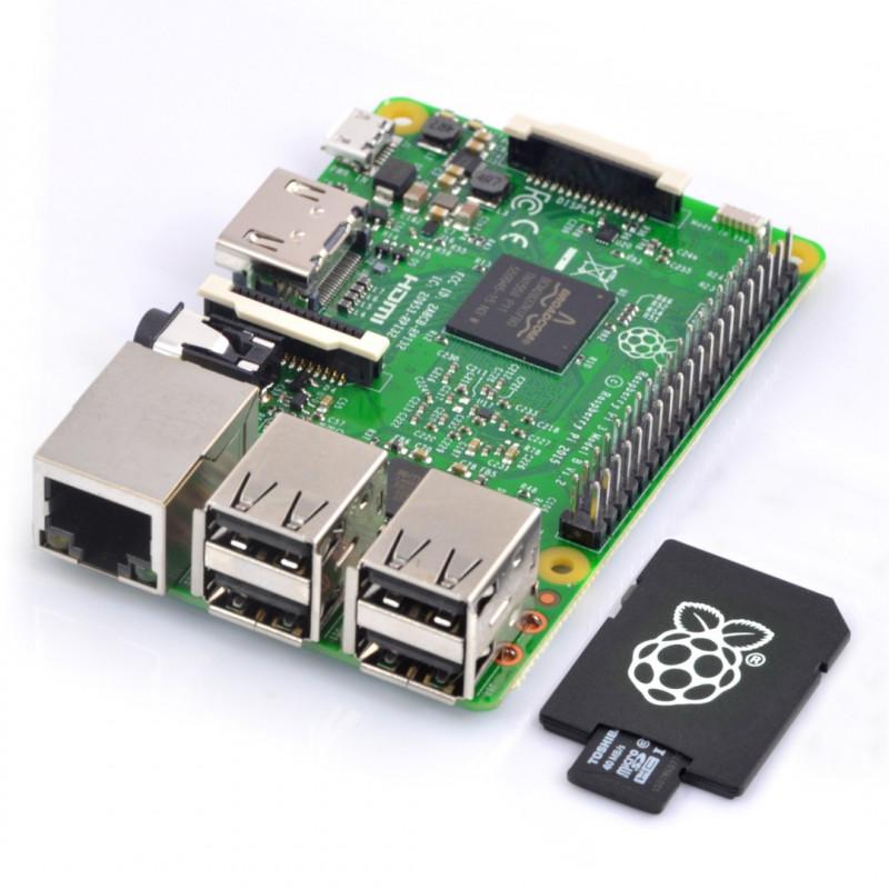 Raspberry Pi 3 B WiFi z kartą pamięci 16GB klasa 10 + system