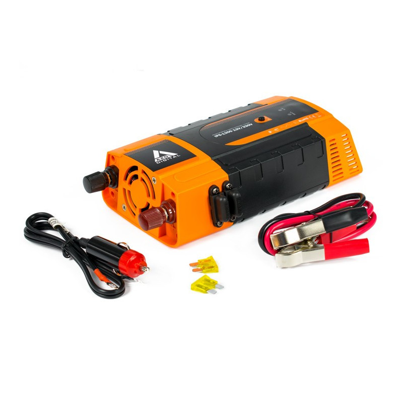 AZO Digital DC / AC Step-Up Voltage Regulator IPS-1200 - 12VDC / 230VAC 1200W - car