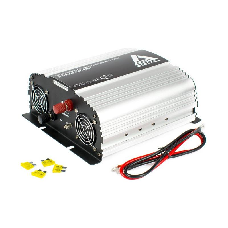 AZO Digital DC / AC Step-Up Voltage Regulator IPS-2400 - 12VDC / 230VAC 2400W - car