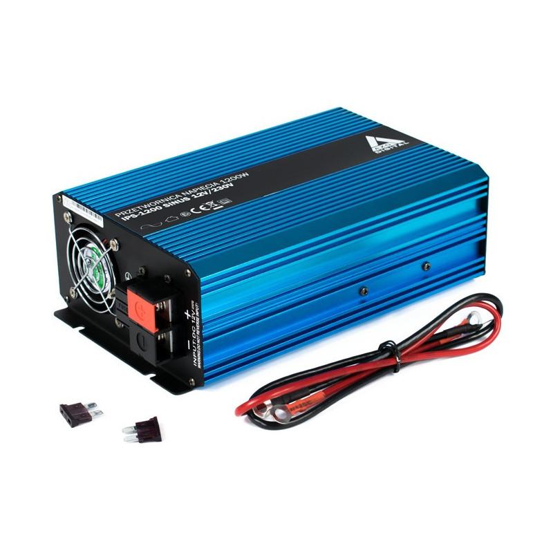 Przetwornica DC/AC step-up AZO Digital 12VDC / 230VAC IPS-1200S 1200W - sinus