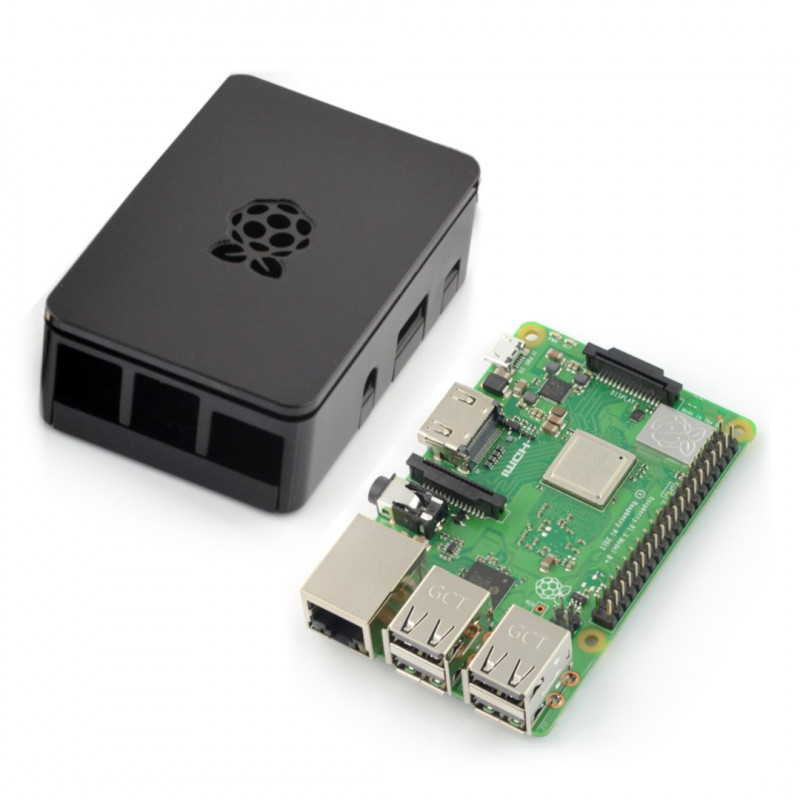 Raspberry Pi 3 B+ z obudową RS Pro Plus czarna z klapką