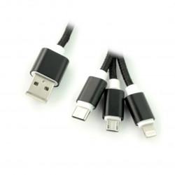 Kabel 3w1 USB typu A do micro USB, Lightning, USB typu C