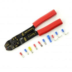 Zaciskarka z zestawem złączy do kabli - różne rodzaje - 100 szt.