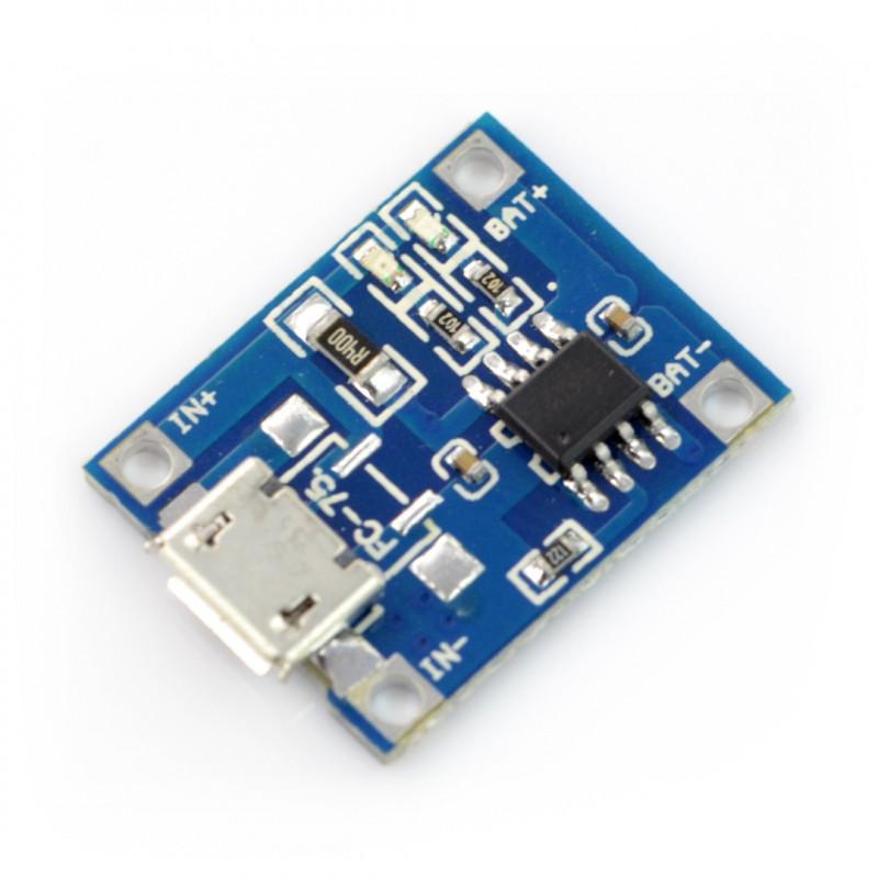 Ładowarka Li-Pol TP4056 pojedyncza cela 1S 3,7V microUSB