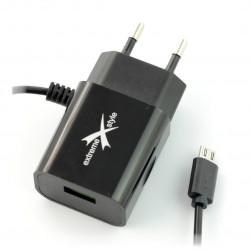 Zasilacz Ampere ATCMU24B microUSB + USB 2,4A - czarna