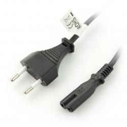 Przewód zasilający EURO (radiowy) CEE 7/16 - IEC 320 C7 1,8m - czarny
