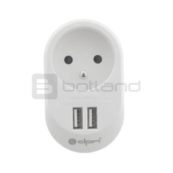 Zasilacz 2x USB 5V 3,4A z gniazdem sieciowym AC 230V DPM FZB01UW biały
