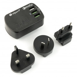 Zasilacz podróżny 3x USB 3,4A, wtyczki USA, EUR, UK, AUS, szybkie ładowanie