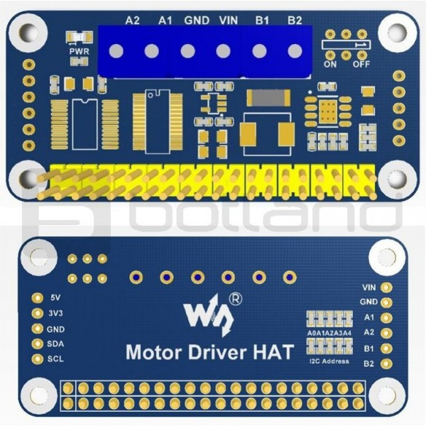 Dual channel DC motor driver, I2C interface - HAT for Raspberry Pi*