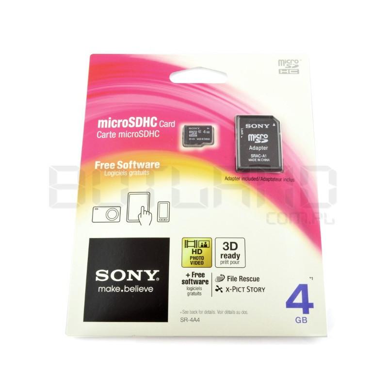 Karta pamięci SONY micro SD / SDHC 4GB klasa 4 z adapterem