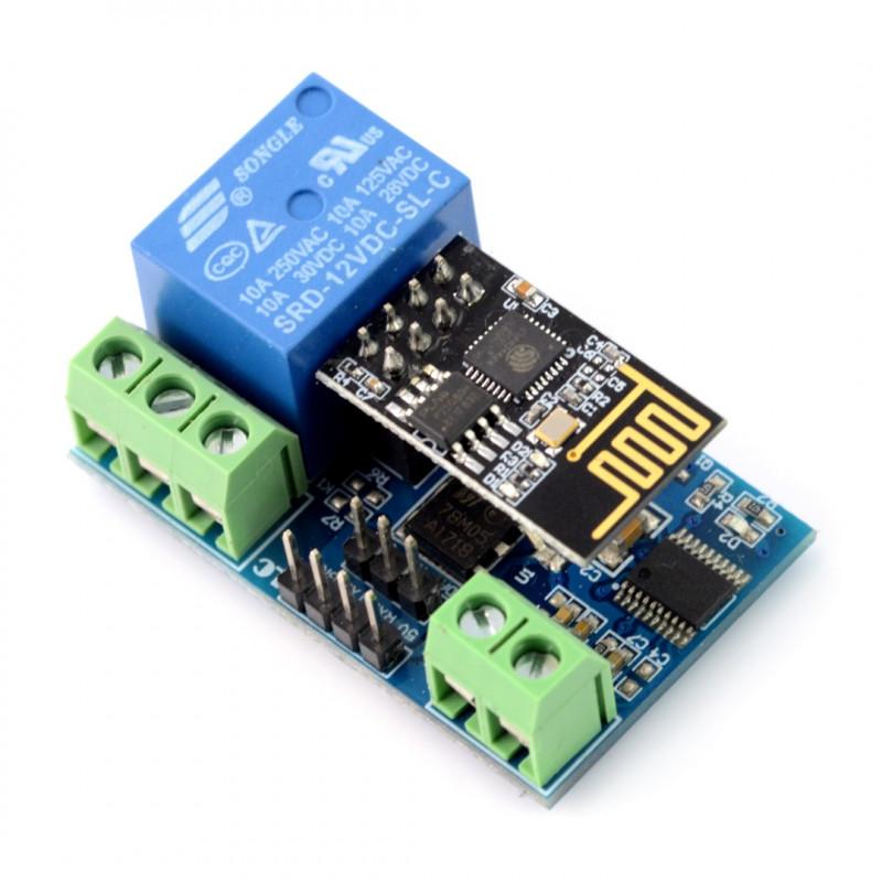 Moduł WiFi ESP8266 + przekaźnik - styki 10A/250VAC - cewka 12V