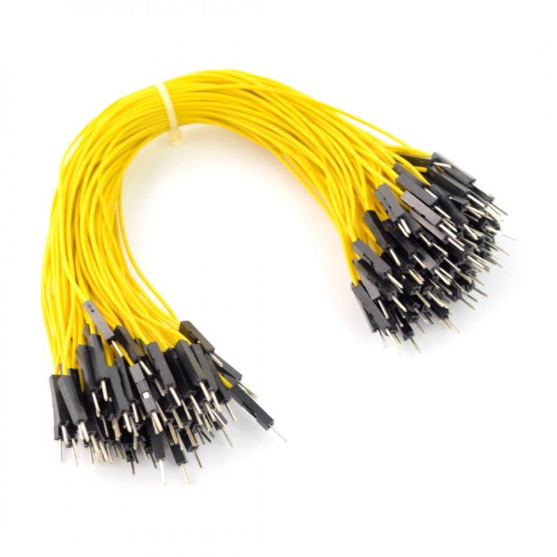 Przewody połączeniowe męsko-męskie 20cm żółte 100szt.