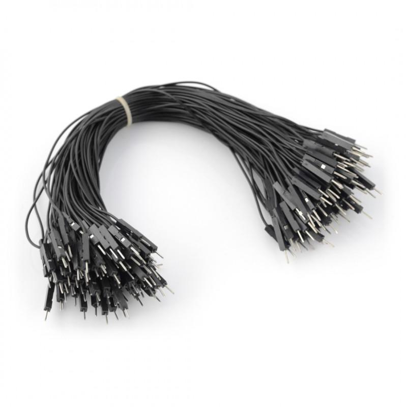 Przewody połączeniowe męsko-męskie 20cm czarne - 100szt.