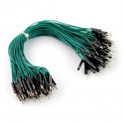 Przewody połączeniowe męsko-męskie 20cm zielone - 100szt.