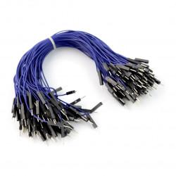 Przewody połączeniowe męsko-męskie 20cm niebieskie - 100szt.