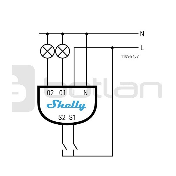 Shelly2 - Double Relay Switch 2x Przeka U017anik 230v