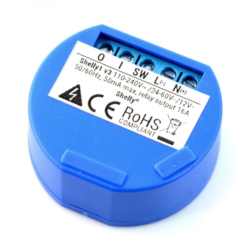 Shelly1 - Relay Switch 12VDC / 230VAC WiFi 16A - Android / iOS_