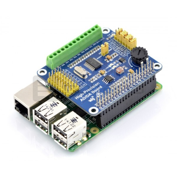 ADS1256 / DAC8552 - A/C and C/A converter 24/16-bit SPI - overlay for  Raspberry Pi*
