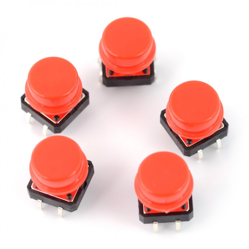 Tact Switch 12x12mm with cap - red mushroom - 5pcs*