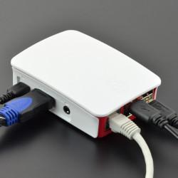 Zestaw Raspberry Pi 3 model B+ WiFi - Official - z obudową czerwono-białą