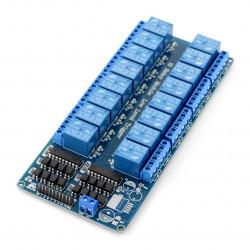Szesnastokanałowy moduł przekaźników RM12 5V z izolacją optoelektroniczną 10A/125VAC