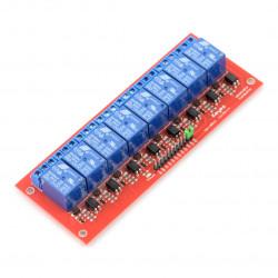 Moduł przekaźników 8 kanałów z optoizolacją - styki 7A/240VAC - cewka 12V