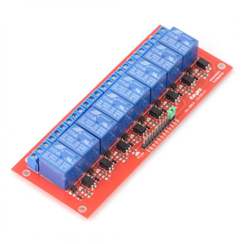 Moduł przekaźników 8 kanałów z optoizolacją - styki 10A/250VAC - cewka 5V - czerwony