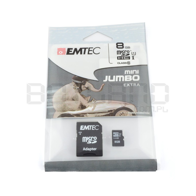 EMTEC micro SD / SDHC 8GB class 10 memory card with adapter