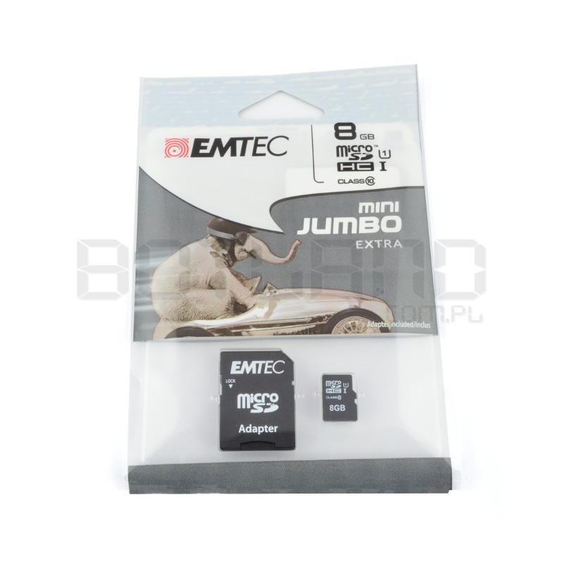 Karta pamięci EMTEC micro SD / SDHC 8GB klasa 10 z adapterem