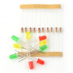 Zestaw diod LED 5mm z rezystorami