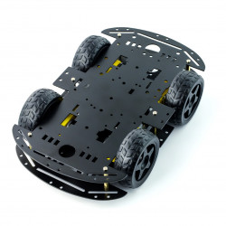 Metal Chassis Rectangle 4WD with DC Motor Drive - black