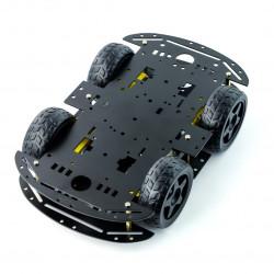 Metalowe podwozie robota 4WD czterokołowe z silnikami - prostokątne - czarne