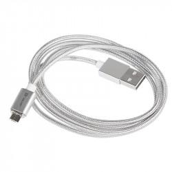 Przewód magnetyczny TRACER USB A - microUSB 1m srebrny