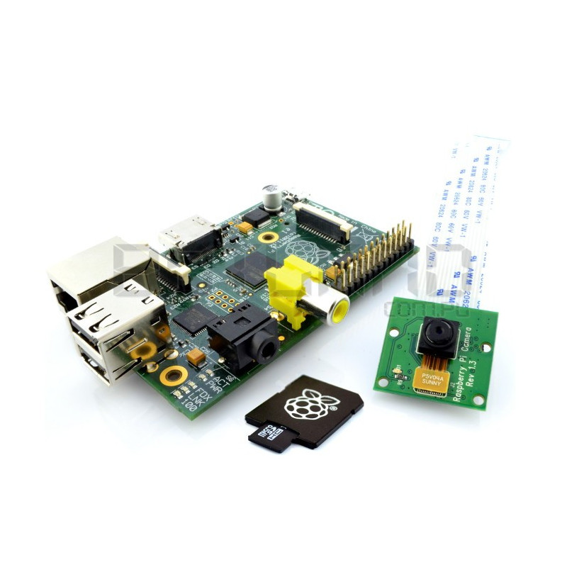 Raspberry Pi Model B 512 MB + karta + kamera HD