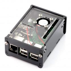 Obudowa Raspberry Pi Model 3/2/B+ z wentylatorem - czarna