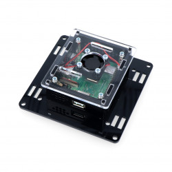 Case for Raspberry Pi model 3A+ Vesa v2 for mounting on a monitor - black-transparent + fan_