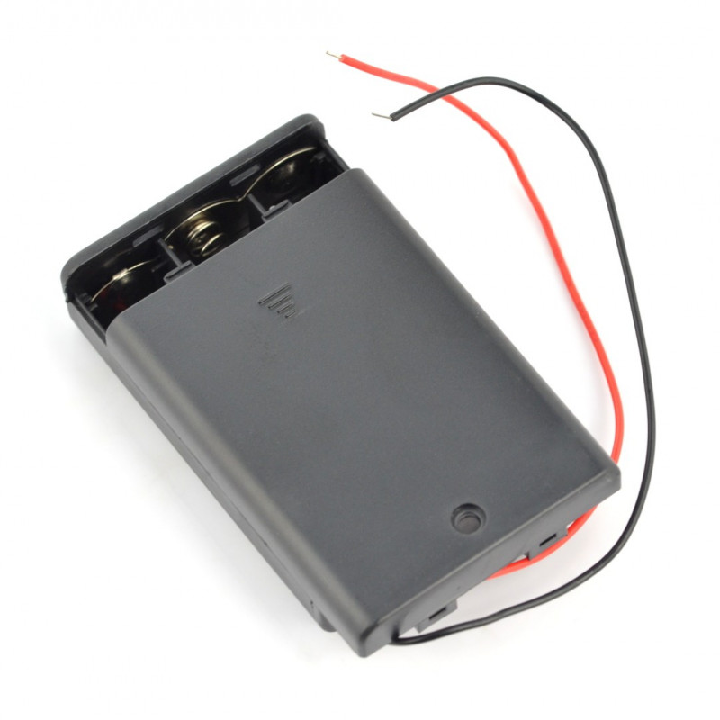 Battery storage case for 3 packs AA (R6) with cover and switch